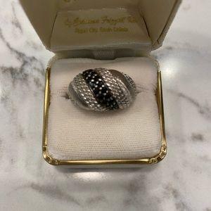 Judith Ripka Black Spinnel Silver Ring